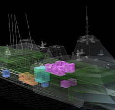 3D Technical illustration of concept naval vessel