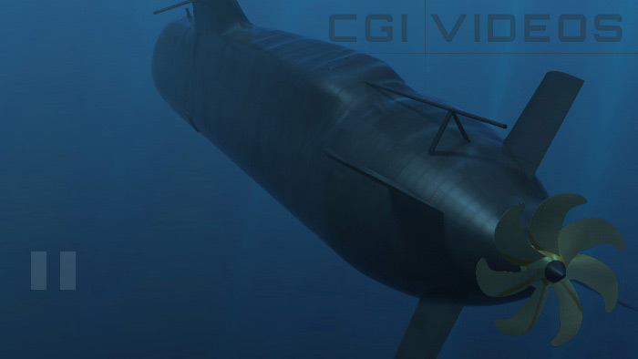 Animated underwater submarine video