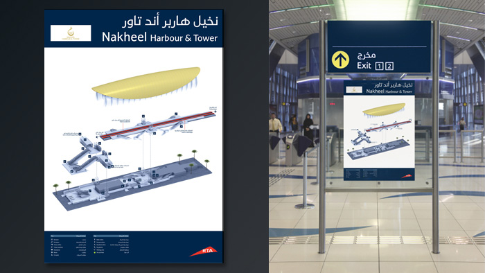 Stylised wayfinding 3D rendered map for the Dubai Metro