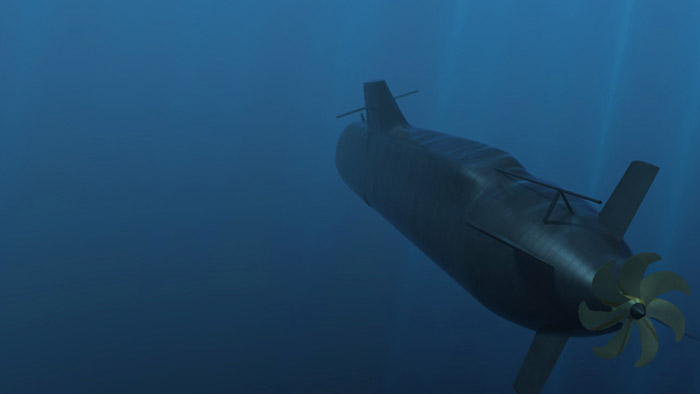 Still from underwater CGI animated video of Vidar-36 SSK Submarine for marketing