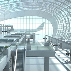 3D Rendered image of airport terminal for Shell product concept