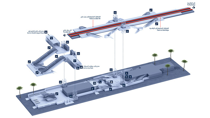 Stylised exploded 3D maps for the Dubai Metro