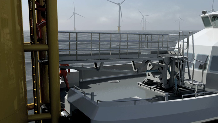 3D video of off-shore wind turbine concept product with 3D rigging and character animation