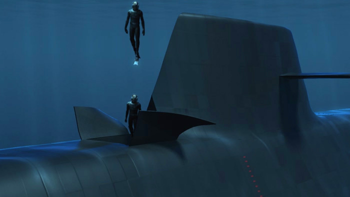 3D video of frogman eressing a submarine - An example of character rigging and animating